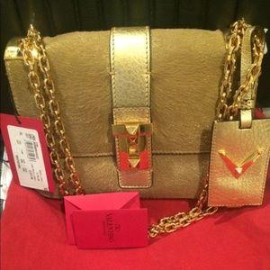 Valentino B-Rockstud Gold Calf Hair Shoulder Bag